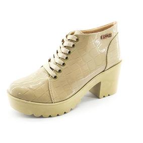 Bota Coturno Quality Shoes Feminina Verniz Croco Nude