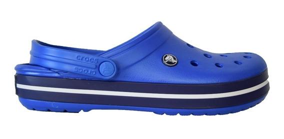 Crocband Adulto Azul Con Banda Azul Y Blanca