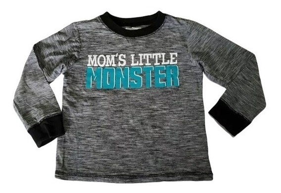 Playera Niño Manga Larga 4t Gris Rayada Moms Little Monster