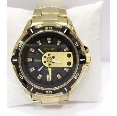 Relógio Masculino Atlantis Original Dourado Preto Aço + Caix