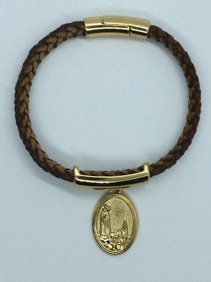 Pulseira De Couro Trançado C/ Medalha N. Senhora De Fátima