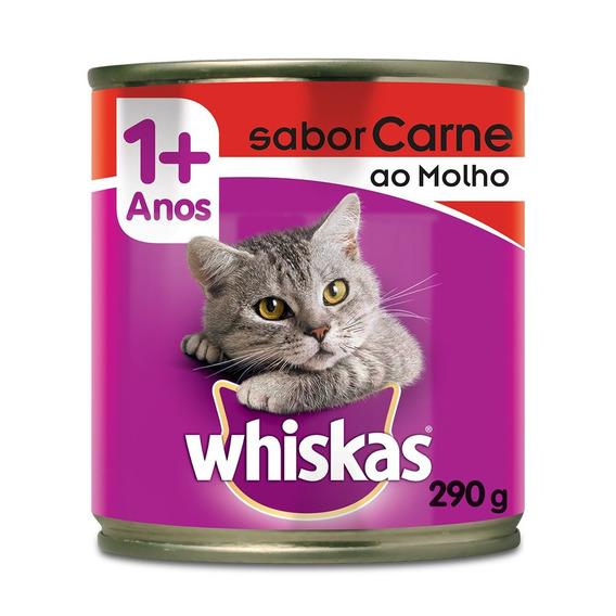 Ração Whiskas Lata Carne Ao Molho - 290 G
