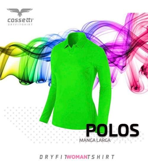 Playera Tipo Polo Cossetti Manga Larga Dry Fit Colores Neón
