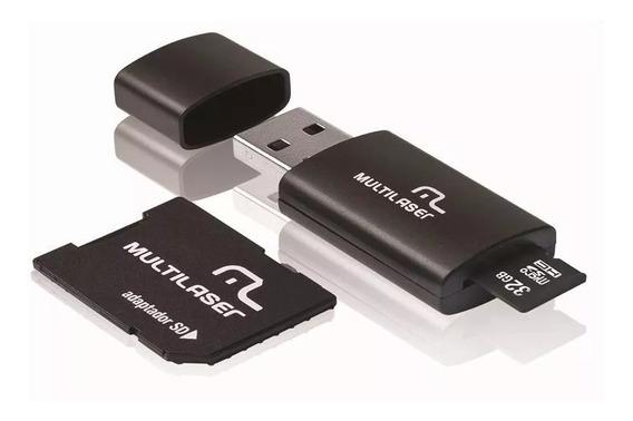 Cartão Sd 32gb 3x1 Micro Sd/adap/pendrive Clas10 Multilaser