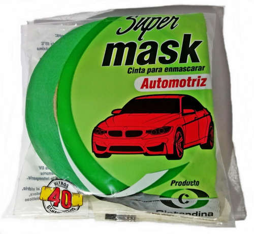 Cinta Enmascarar Supermask Verde Automotriz 24mm X 40mts