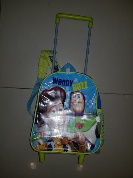 Mochila Woody & Buzz Original Usada Con Carrito!!