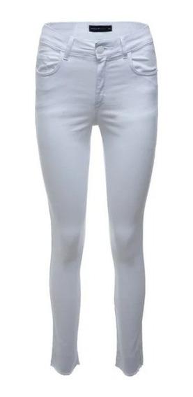Calça Feminina Jeans Sarja Anselmi Branca Confortável Cósm