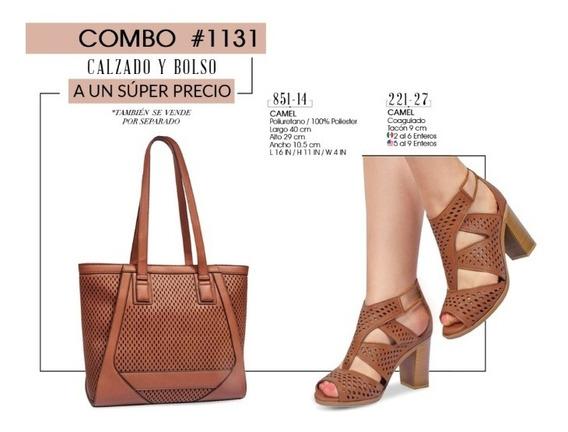 Zapato Dama Y Bolso Camel Combo #1131 Oi 2019