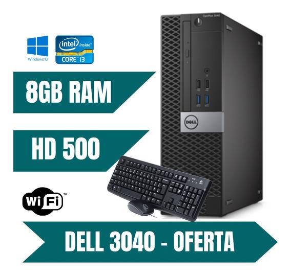 Computador Dell I3 500gb 8gb Ram Win10 Teclado E Mouse.