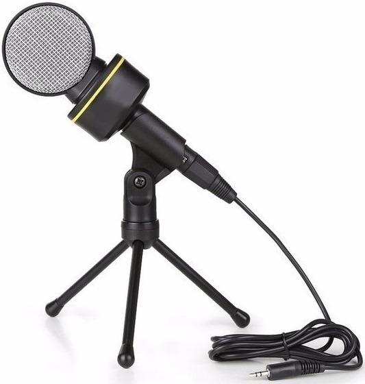 Microfone De Mesa Condensador P2 Tripe Gravação Youtube Pc