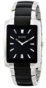 Relógio Bulova Masculino Prata/preto Retângulo Original