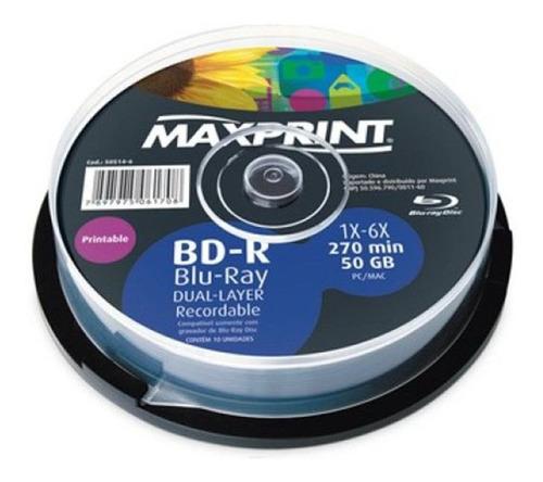 10 Blu Ray 50 Gb Maxprint  Printable (pino Lacrado 10 Un)