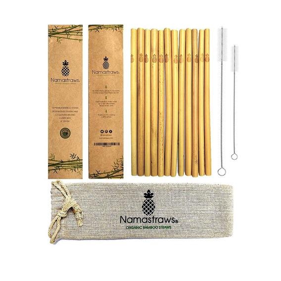 Set De 12 Popotes De Bambú Ecológicos Reutilizables Calidad