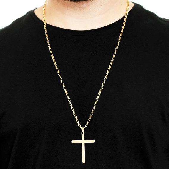 Corrente Masculina Cordão 70cm 3mm Cruz Lisa Banhado Á Ouro
