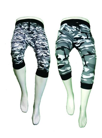 Camuflajeado Pants 3/4 Capri Baggy Militar Gris