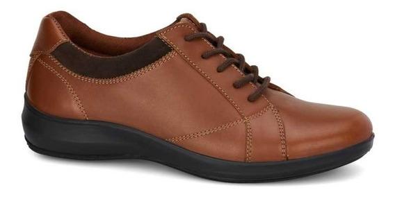 Zapato Dama Oxford Café Piel Talon Acojinado Ultrafresh
