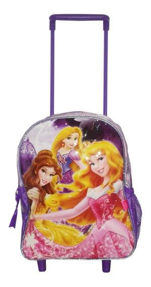 Mochila Princesas De Disney Lila Con Carro Chica 12 Original