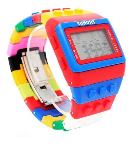 Reloj Lego Bloques Ajustable Digital Shhors Multicolor Azul