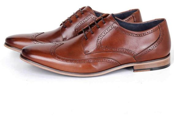Sapato Social Derby Em Couro Bronze Savelli