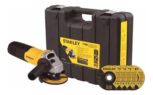 Imagen 1 de 10 de Pulidora Angular 4-1/2 Pg. 710w + Estuche + 5 Discos Stanley
