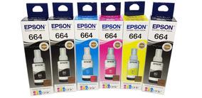 Kit 6 Tintas Epson T664 Original L395 L220 L375 L380 L455