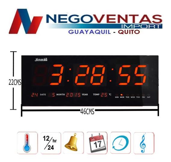 Reloj Led De Pared Grande 36cm 46cm Fecha Alarma Temperatura