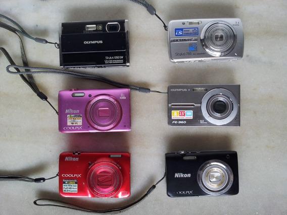 Lote 6 Câmeras Olympus E Nikon Sem Testes