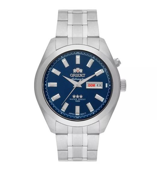 Relógio Orient Masculino Automático Prata Azul 469ss075 D1sx