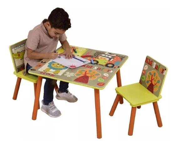 Mesa Infantil Estampada Selva Com 2 Cadeiras Brinquedoteca