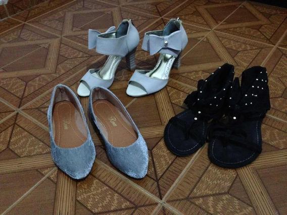 Lote De Sapatos Tamanho 34 Sapatilha Salto Sandalia