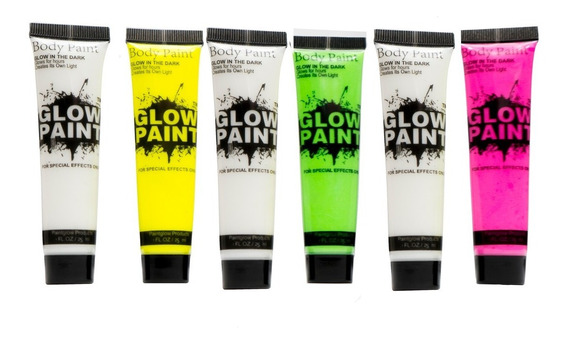 6 Tubos De Pintura Fluorescente Neon Glow Maquillaje
