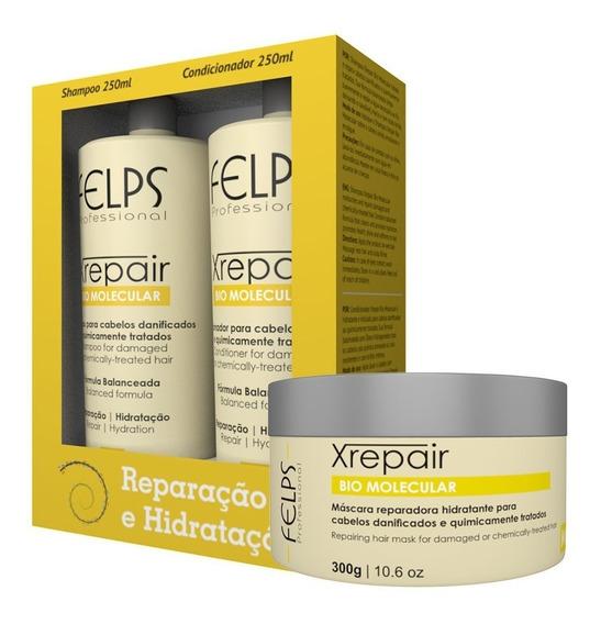 Xrepair Bio Molecular Kit Shampoo/cond/máscara 3 Produtos