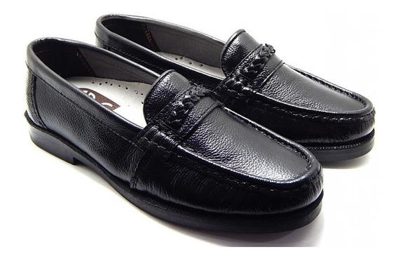 Sapato Masculino Mocassim Couro Legítimo Abc - Preto
