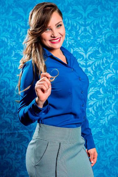 Camisa Feminina Social Evangelica Plus Size Xadrez E Lisa