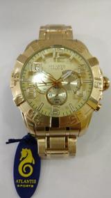 Relógio Atlantis Masculino Dourado Original Frete Gratis