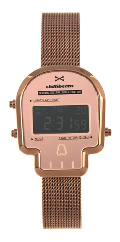 Relógio Digital Feminino Chilli Beans Caveira Marrom