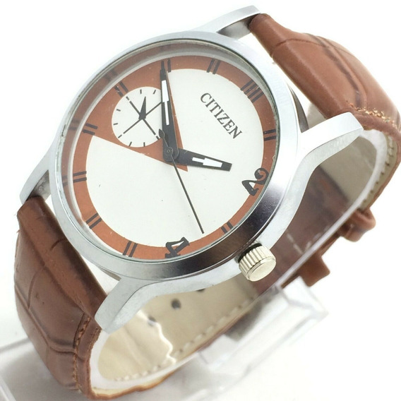 Reloj Citizen 40 Mm Niquel Satin Dial Cafe Correa Piel 30
