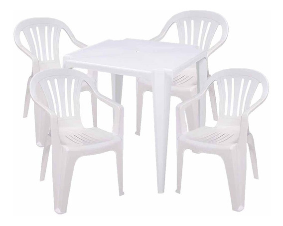 Conjunto Mesa Plástica Com 4 Cadeiras Bela Vista Mor