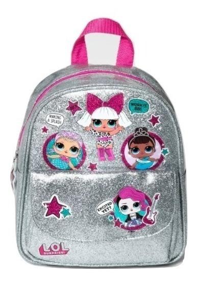 Mochila Infantil Lol Surprise Glitter Oficial Prata Menina