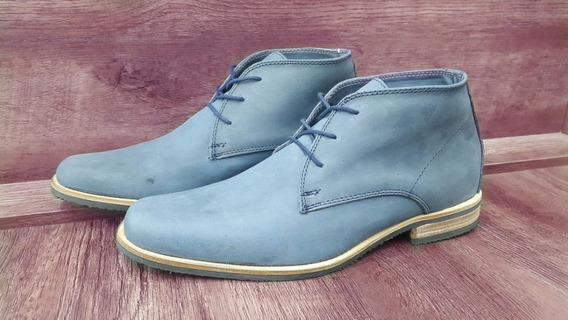 Zapato De Hombre Cuero Azul Art 7950