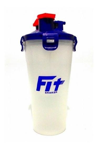 Garrafa Fit Shaker Dual Cup 350ml Transparente E Azul