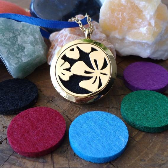 Aromaterapia Colar Aço Inox Polido Difusor Pessoal Aromático Flor Da Alegria Dourado