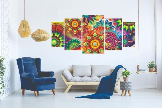 Kit Quadro Decorativo Sala Mosaico Desenho Abstrato Colorido