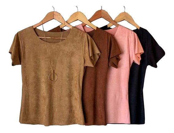 Blusa Blusinha Suede T-shirt Moda Feminina Promoção Verão