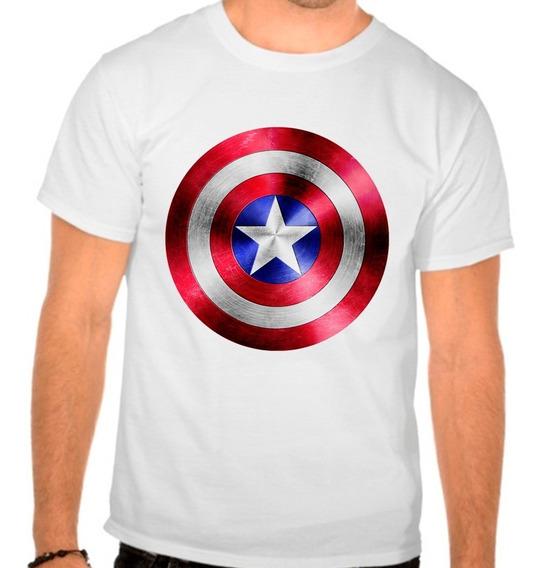 Camiseta Branca Capitão América Marvel Escudo