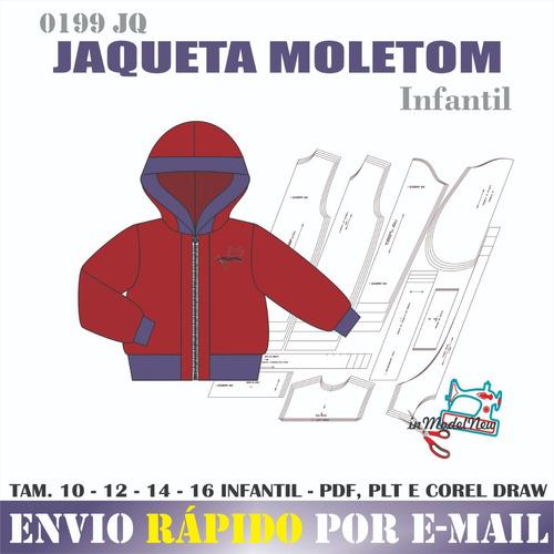 Molde Digital Modelagem De Jaqueta Infantil Com Zíper Capuz