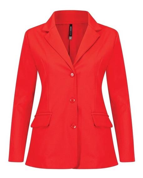 Maxi Saco 17030 Largo Blazer Rojo Oficina Evento Rinna