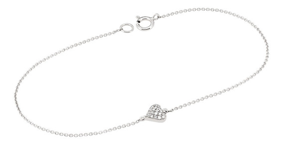 Pulsera Bizzarro De Oro Blanco Con Corazon 6 Pts Diamante