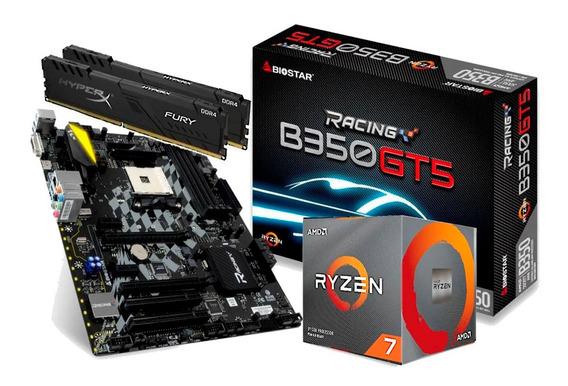 Kit Processador Amd Ryzen 7 3700x Biostar B350gt5 Hx 2x 8gb