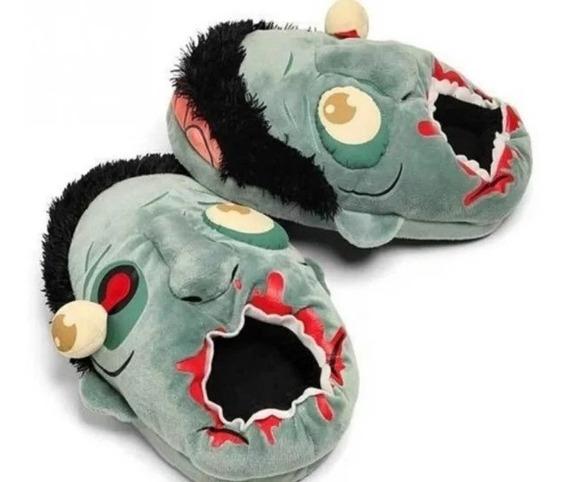 Pantuflas Peluche Zombie Verde Slippers Grande Unisex Envío